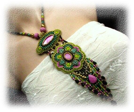 Semiramis - bead embroidered necklace, OOAK
