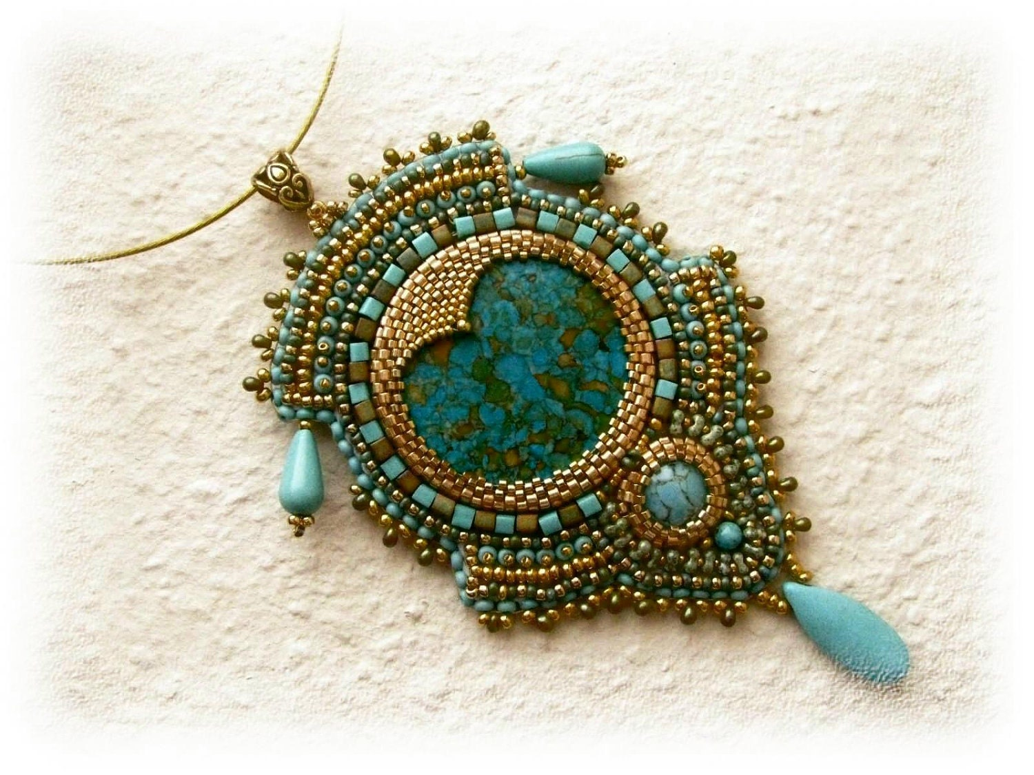 Gold and turquoise bead embroidered necklace ooak