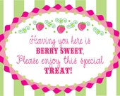 Strawberry Shortcake Birthday Printable Favor Sign