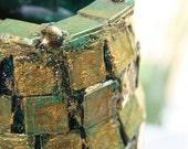 Green and Gold Tile Coated Mason Jar