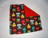 Lovie Security Blanket - Monster Flannel with Super Soft Red Minky Backing 15x15