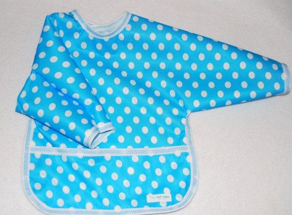 Shirt Saver Full Coverage Baby Bib With Long Sleeves and Pocket - Blue and White Polka Dots