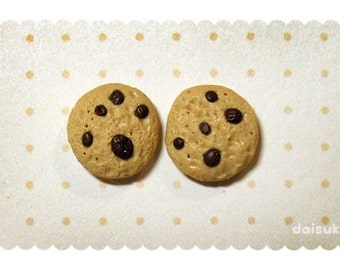 Chocolate Chip Cookies handmade stud earrings