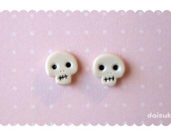 Kawaii Skulls - Polymer Clay Earrings - Halloween