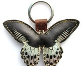 Leather keychain / bag charm - Blue and Black butterfly