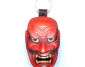 Leather Japanese mask keychain , keyring, bag charm