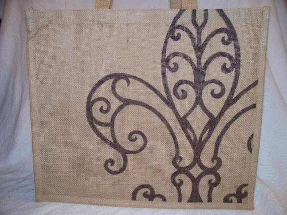 Fleur di Lis Reusable Jute Bag