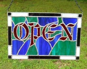 Stained Glass Victorian Open Sign, custom made in your colors