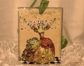 French Market Vintage Style Marie Antoinette Glittered Gift Tag Happy Birthday Sentiment ECS