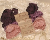 French Inspired Seam Binding Ribbon Distressed and Scrunched  - Violette Rose Jolie - French Marche (SB008)