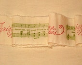 Custom Listing for TowerHillTreasures) Vintage Handmade Muslin Ribbon Merry Christmas Music Notes ECS