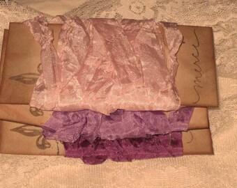 French Vintage Crinkled Seam Binding Lavender Bliss