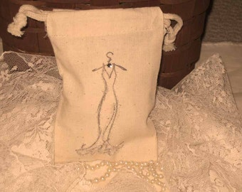 French Elegant Dress Muslin Pouch Favor Bag Black Tie Collection ECS
