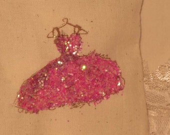 Muslin Wedding Shower Party Favor Gift Bag Evening Dress Hot Pink Glitz and Glam Collection ECS