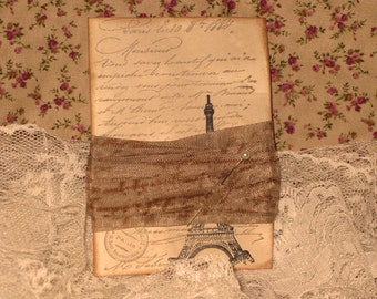 French Vintage Hand Stamped French Script Seam Binding Cafe Au Lait ECS
