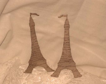 Vintage Inspired Walnut Stained Eiffel Tower Gift Tag Set of 5 ECS