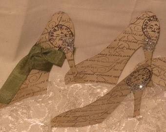 Vintage Inspired Walnut Stained Shoes Pumps Gift Tag Set of 5 Paris Haute Couture ECS