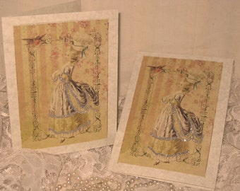 Vintage French Design Handmade Cards Adorned with Glitter French Romance on Parchment ECS