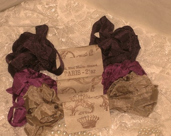 French Inspired Seam Binding Ribbon Distressed and Scrunched  - Tres Jolie Cafe - French Marche (SB011)