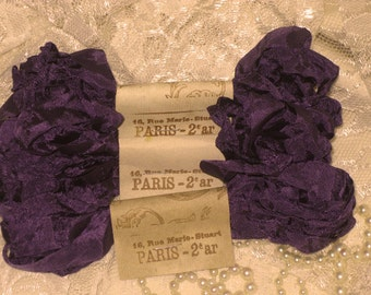 French Inspired Seam Binding Ribbon Distressed and Scrunched  - Aubergine - French Marche (SB1c001)