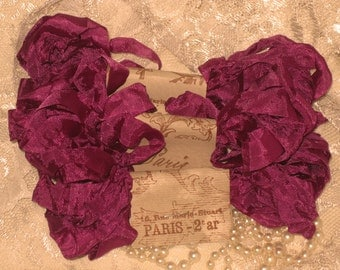 French Inspired Seam Binding Ribbon Distressed and Scrunched  - French Fuschia - French Marche (SB1c003)