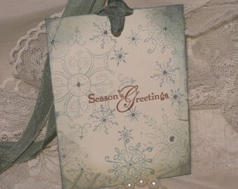 Season's Greetings Snowflake Gift Tags Adorned with Glitter ECS