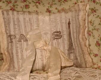 French Vintage Handmade Provance Lavender Muslin Sachet Music Eiffel Tower  (Sachet016)