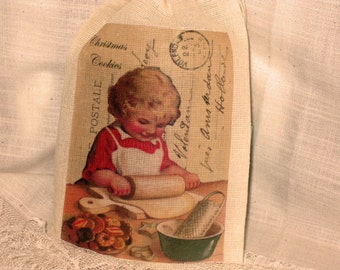 French Market Carte Postal Christmas Baking Muslin Party Favor Gift Pouches ECS