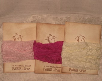 French Vintage Crinkled Seam Binding (Elegant Dress Collection 002) Hot Pinky Pink