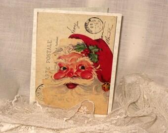 Santa Carte Postal Christmas Card Original Design Handmade on Parchment
