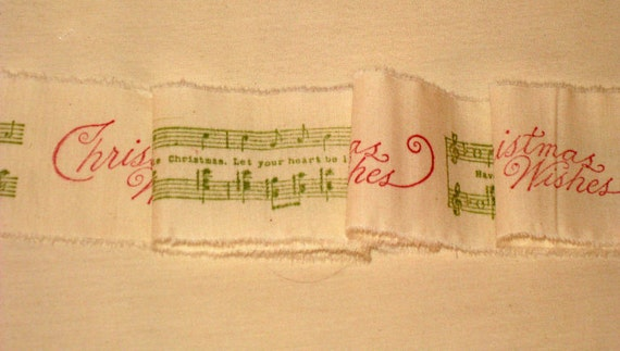 French Vintage Handmade Muslin Ribbon Merry Christmas Music Notes ECS