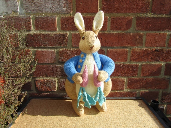 Knitting Pattern For Peter Rabbit Jumper : Hand Knitted Toy Beatrix Potter Peter Rabbit from Alan Dart