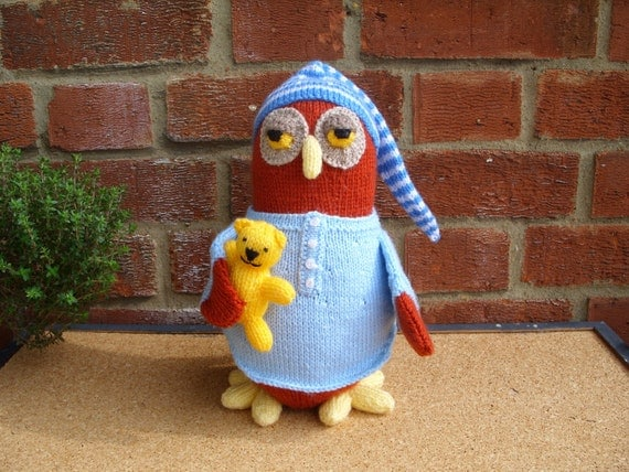Hand Knitted Toy Night Owl from Alan Dart pattern MADE