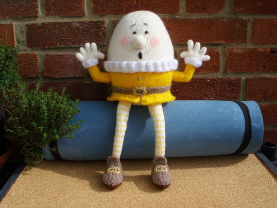 "Hand Knitted Toy Humpty Dumpty from Alan Dart pattern  ""MADE TO ORDER"" for Jennifer Only"