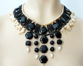 Reserved elegant black onyx and freshwater pearls collar, Melissa