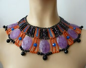 Dramatic egyptian necklace, amethyst, onyx and coral beads , Juno