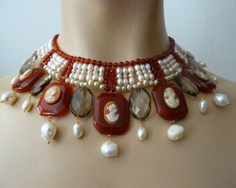 Antique cameos beads Necklace, pearls, carnelians and smoky quartz, Diana