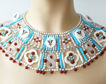Egyptian collar vintage buttons, turquoise, pearls and carnelians, Florence