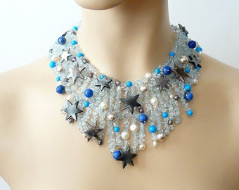 Blue topaze, star buttons and freshwater pearls bib necklace, Milky Way