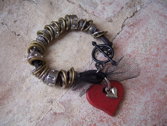 Heart and Soul bracelet on black leather with metal rings and red wooden heart charm