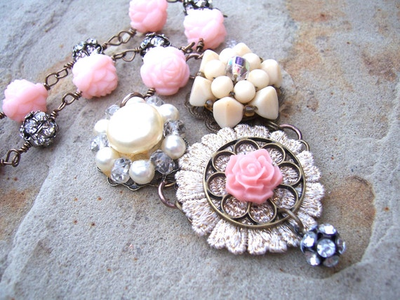Floral beaded necklace with pink rose beads, upcycled cluster earrings, and rhinestone balls