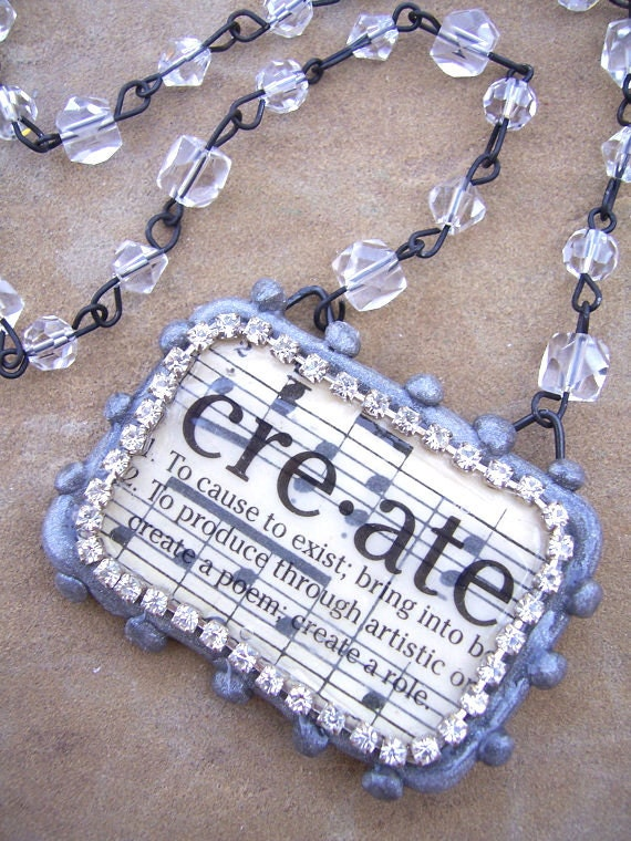 Definition of Create: handmade clay pendant necklace accented with rhinestones