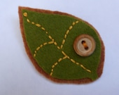 Leaf Brooch in Moss Green, Lapel Pin in Fall Colors for Teens and Women
