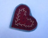 Heart Lapel Pin, Hand Embroidery, Brooch Pin, Old Fashioned Accent Pin