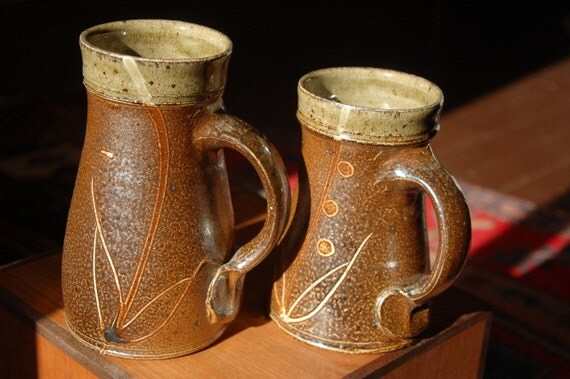 Pair of Woodfired Steins