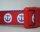"Anchors - Nautical Theme - Red, White and Blue  1"" Wide Adjustable Dog Collar - Also available as a martingale"