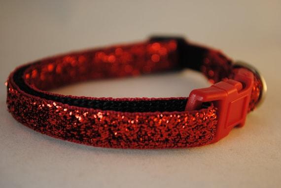 "METALLIC RED GLITTER - 3/8"" Adjustable Dog Collar"