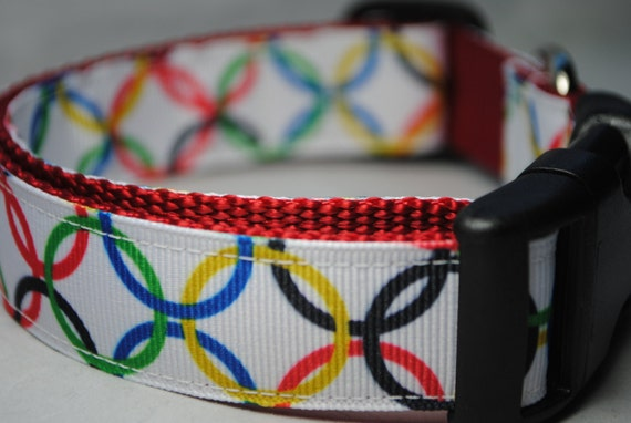 "Last One!  World Rings Print 1"" Wide Adjustable Dog Collar"