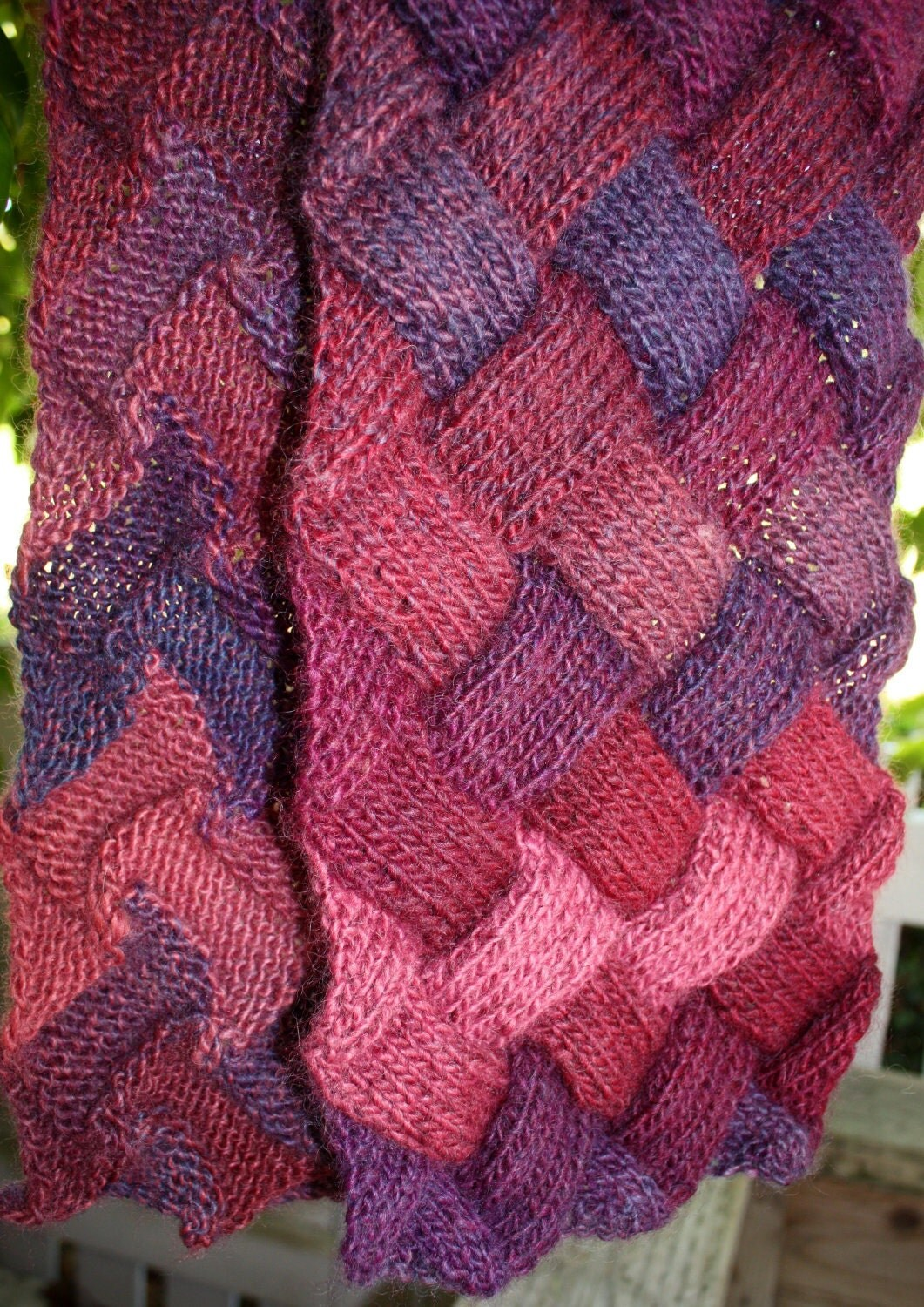 Knitting Basket Weave Pattern : Hand knit ladies entrelac basket weave scarf mauve and purple