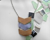 Leather Chevron Necklace - Reclaimed Leather, Southwest Charm
